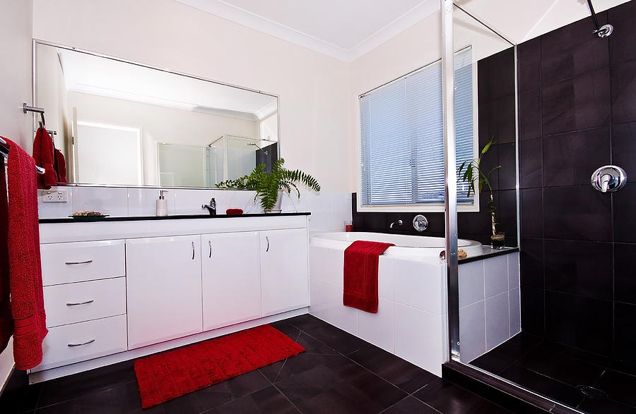 red photograph red black and white bathroom by darren burton: bathroom black red white