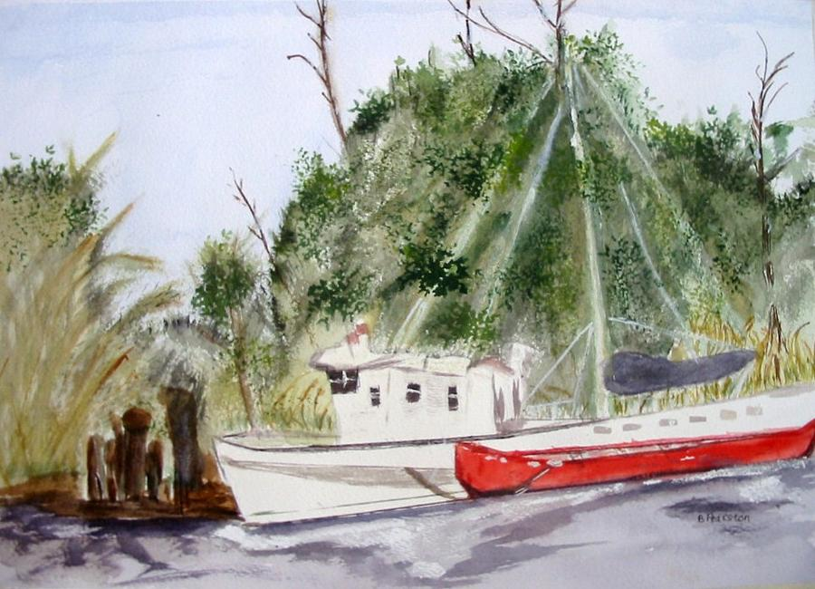 2 Boats Painting - Red Boat by Barbara Pearston