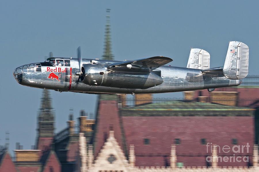 Hungary Photograph - Red Bull North American B-25j Mitchell by Anton Balakchiev
