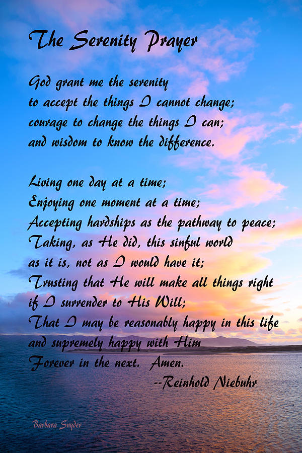 Red Clouds Over Morro Bay Serenity Prayer Painting By