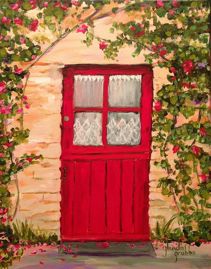 Red Cottage Door Painting By Glenda Grubbs