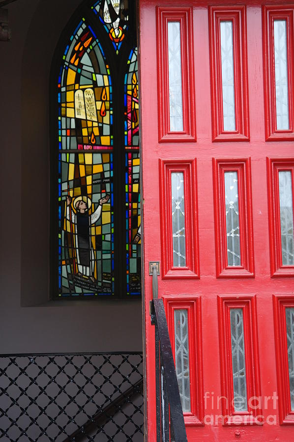 Red Door At Church In Front Of Stained Glass Photograph