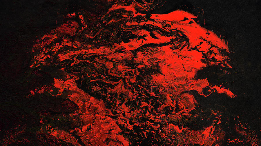 Red dragon contemporary red dark abstract painting for Dark red paintings