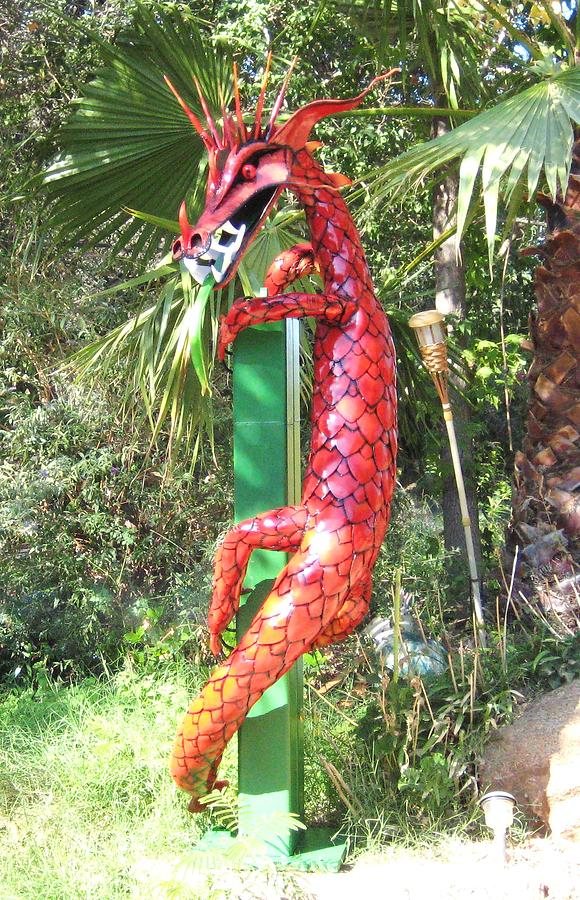 Dragon Sculpture - Red Dragon On Post by Robert Findley