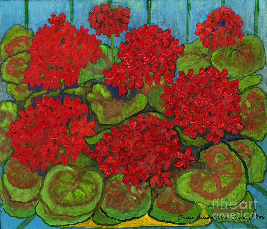 Folkartanna Painting - Red Geranium by Anna Folkartanna Maciejewska-Dyba