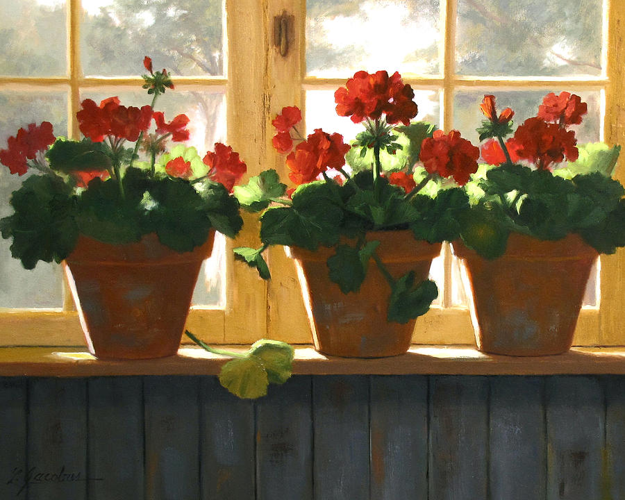 Florals Painting - Red Geraniums Basking by Linda Jacobus