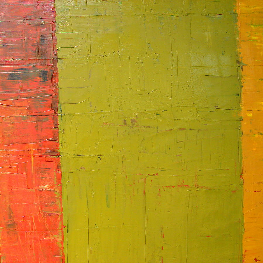 Red Painting - Red Green Yellow by Michelle Calkins
