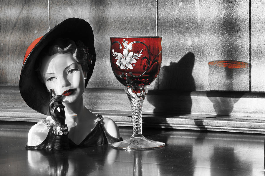 Head Vase Photograph - Red Hat Lady by Greg Sharpe