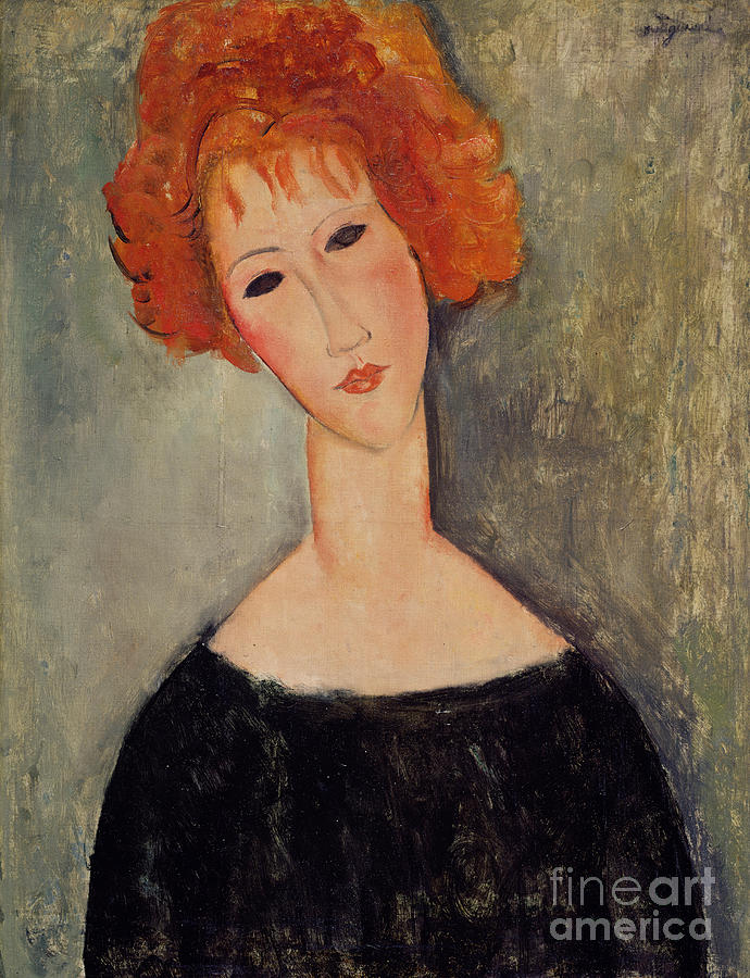 Red Painting - Red Head by Amedeo Modigliani