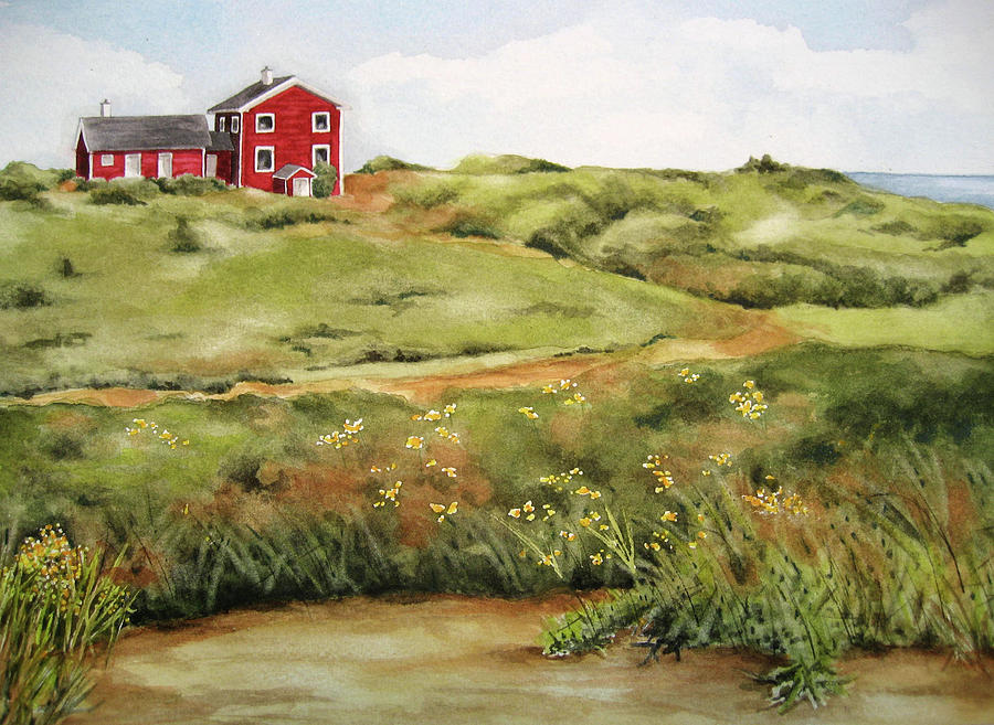 Red House On The Hill Painting By Cheryl Bannister