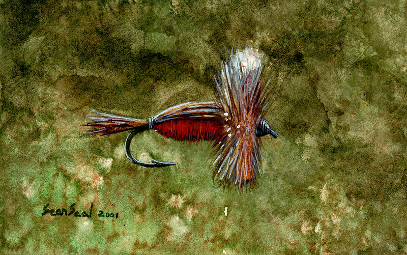 Fishing Fly Painting - Red Humpy by Sean Seal