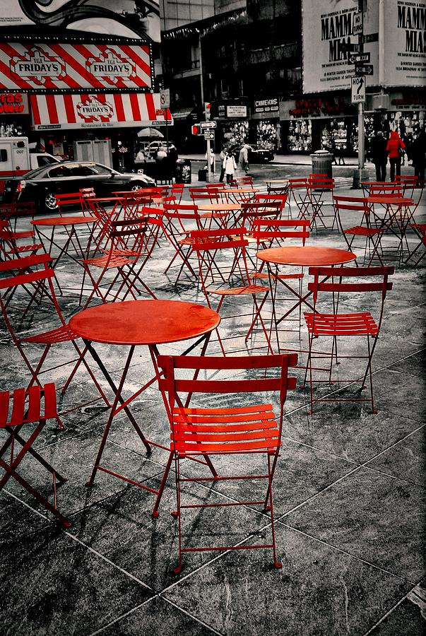 Black Photograph - Red In My World - New York City by Angie Tirado