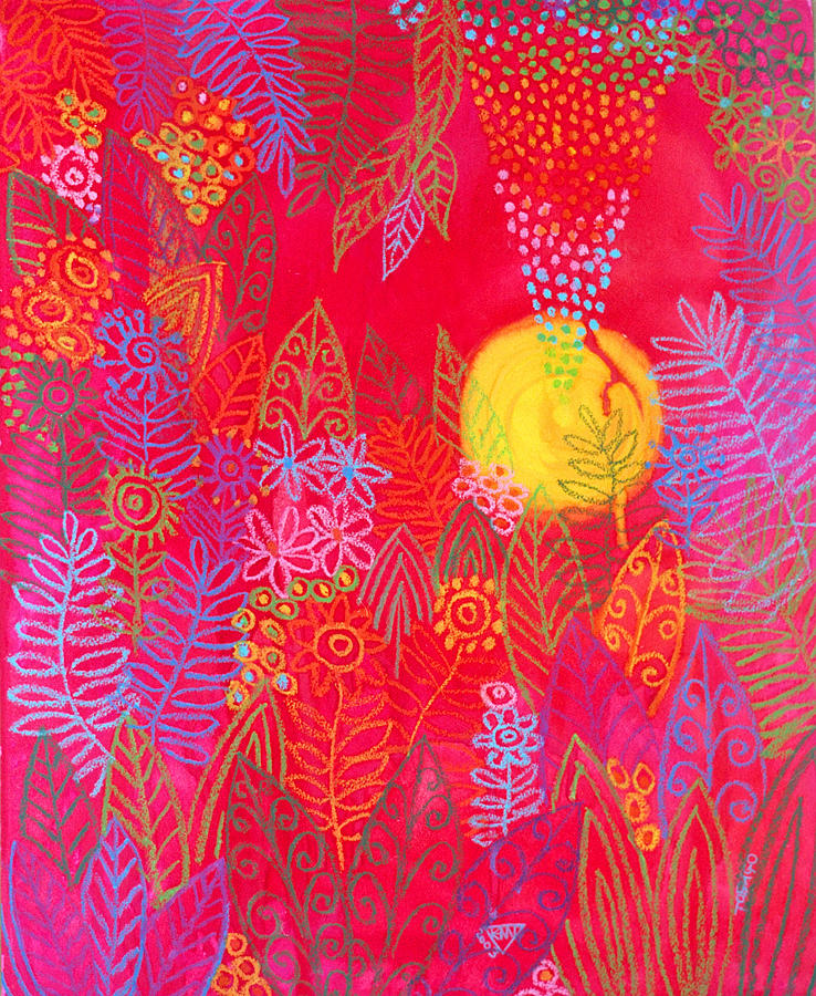 Red Jungle Sun Passion Tropical Exotic Carribean Painting - Red Jungle Passionate Sun by Jennifer Baird