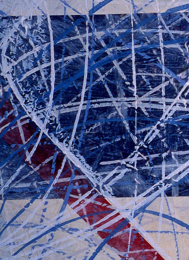 Hockey Painting - Red Line Blue Line by Ken Yackel