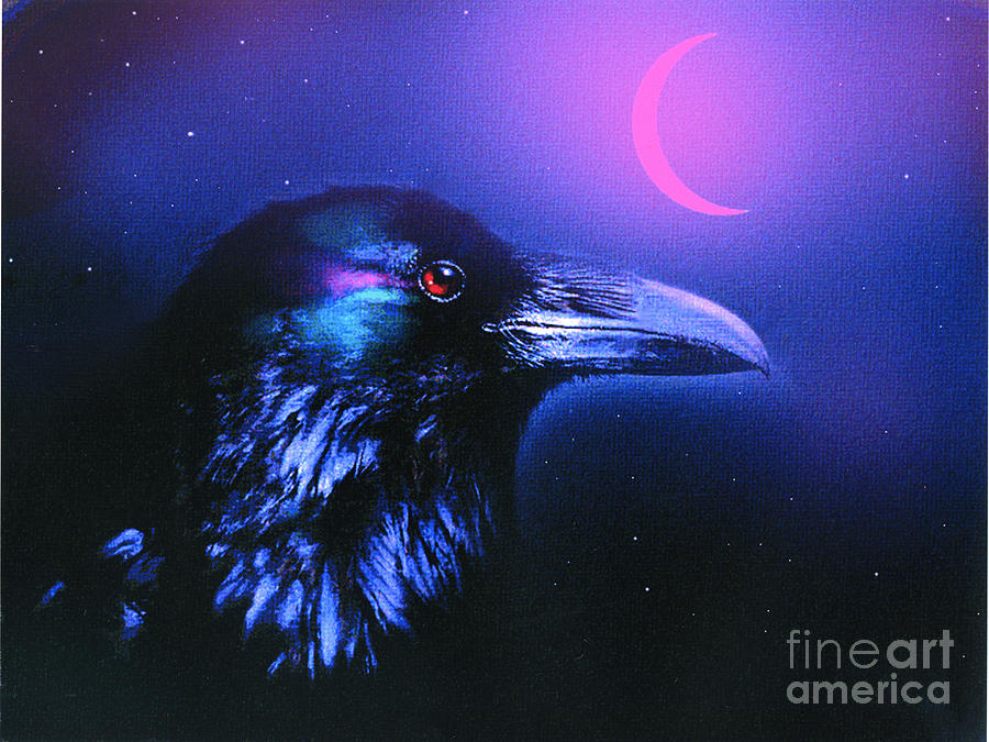 Crow Painting - Red Moon Raven by Robert Foster