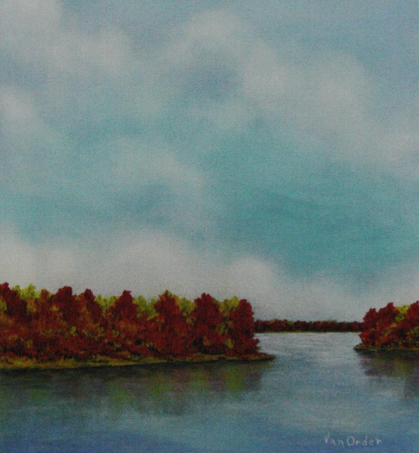 Oak Trees In Fall Colors Pastel - Red Oaks On The River by Richard Van Order