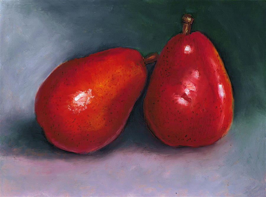 Pear Pastel - Red Pear Pair by Joyce Geleynse