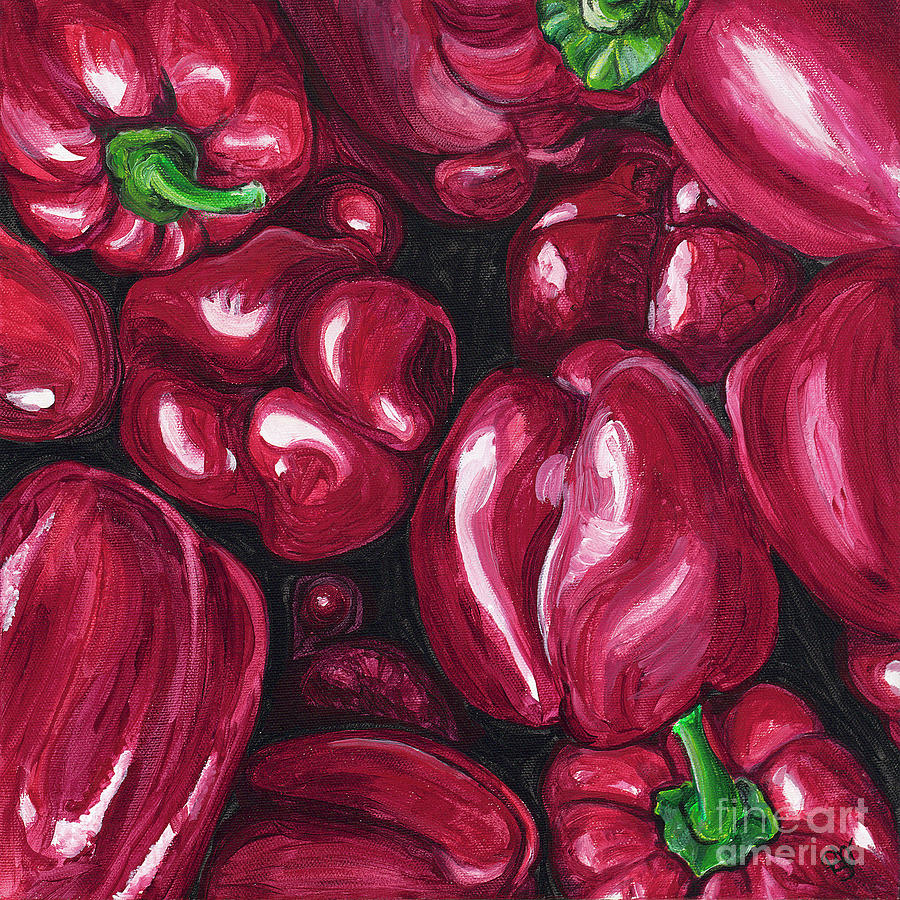 Peppers Painting - Red Peppers by Patty Vicknair