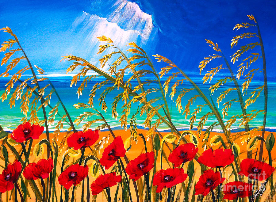Red Flowers Art Painting - Red Poppies And Sea Oats By The Sea by Patricia L Davidson