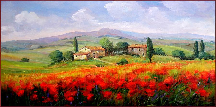 Quadri Painting - Red Poppies by Bruno Chirici