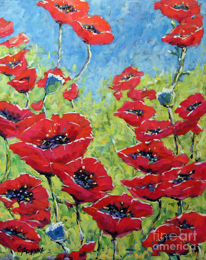 Canadian Floral Scene Created By Richard T Pranke Painting - Red Poppies By Prankearts by Richard T Pranke