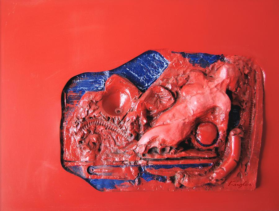 Red Relief Sculpture