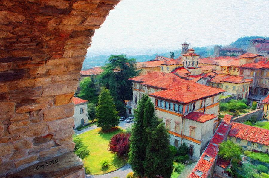 Architecture Painting - Red Roofs by Jeff Kolker