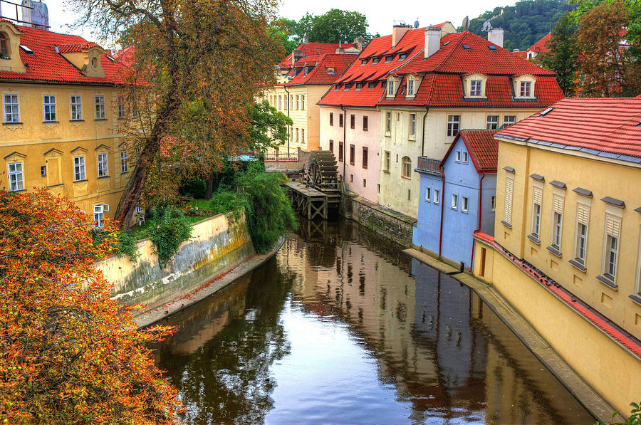 Prague water Wheel Architecture Travel Photograph - Red Roofs Of Prague by Jay Lee