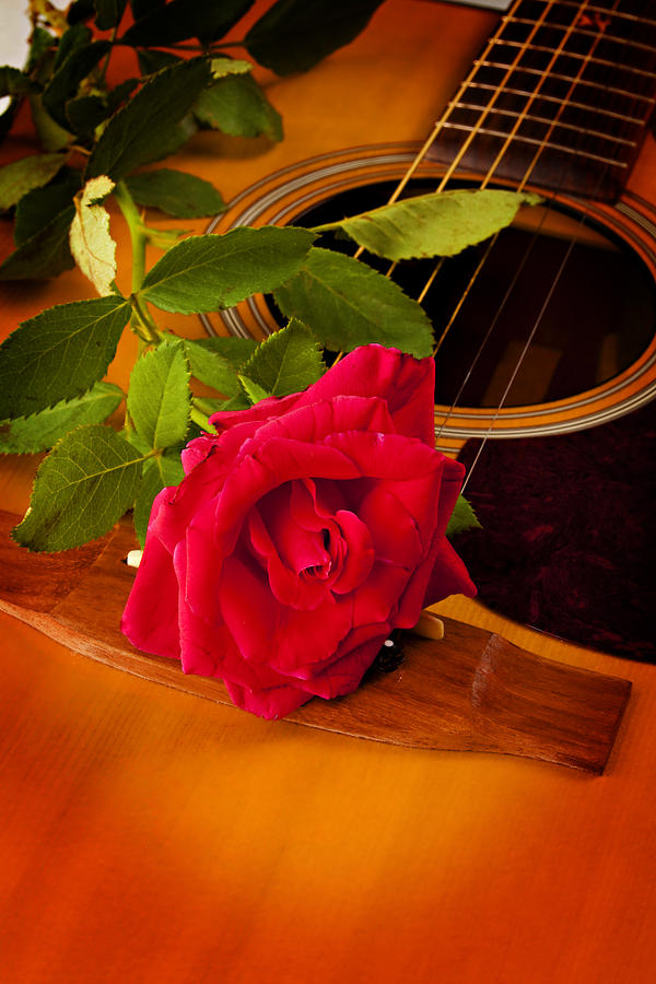 Guitar Photograph - Red Rose Natural Acoustic Guitar by M K  Miller