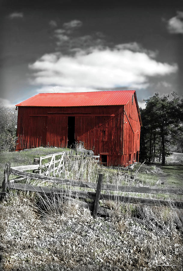 Shack Digital Art - Red Shack Landscape by Joan  Minchak