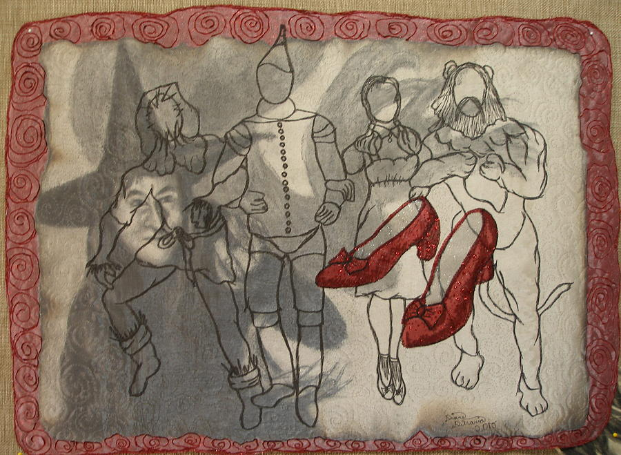 Mixed-media Tapestry - Textile - Red Shoes by Diane  DiMaria