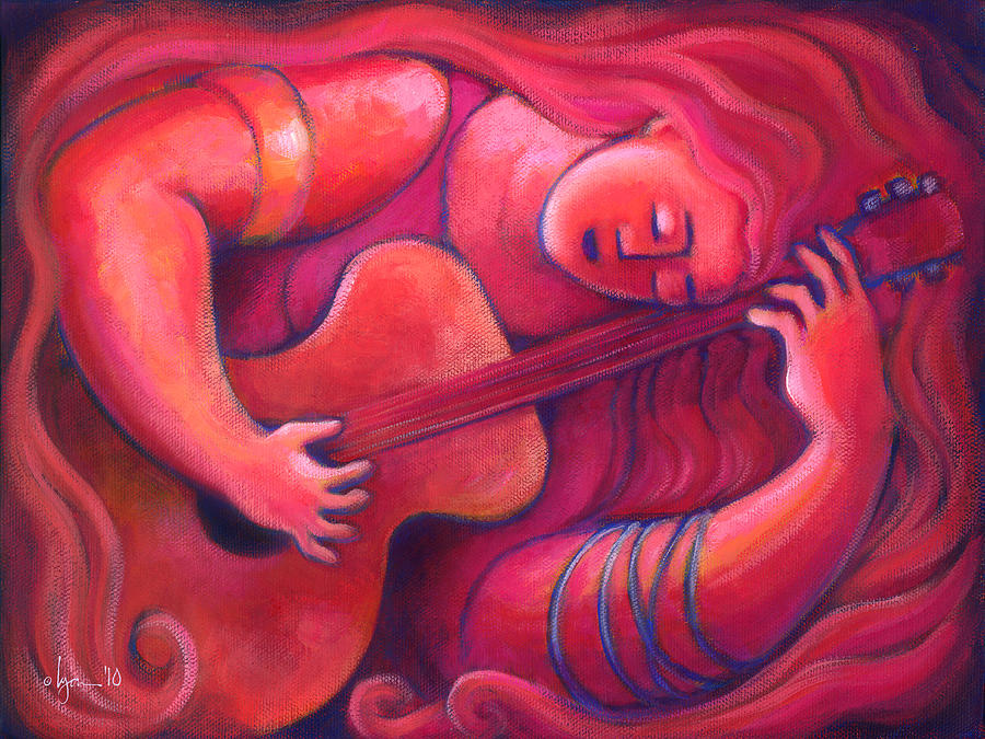 Guitar Painting - Red Sings The Blues Painting 43 by Angela Treat Lyon