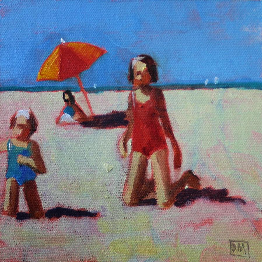 Beach Scene Painting - Red Suit by Debbie Miller
