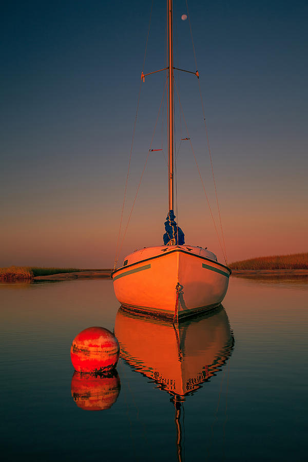 Red Photograph - Red Sunrise Reflections On Sailboat by Dapixara Art