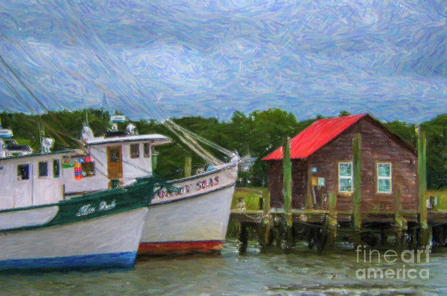 Red Tin Roof Over Shem Creek Photograph