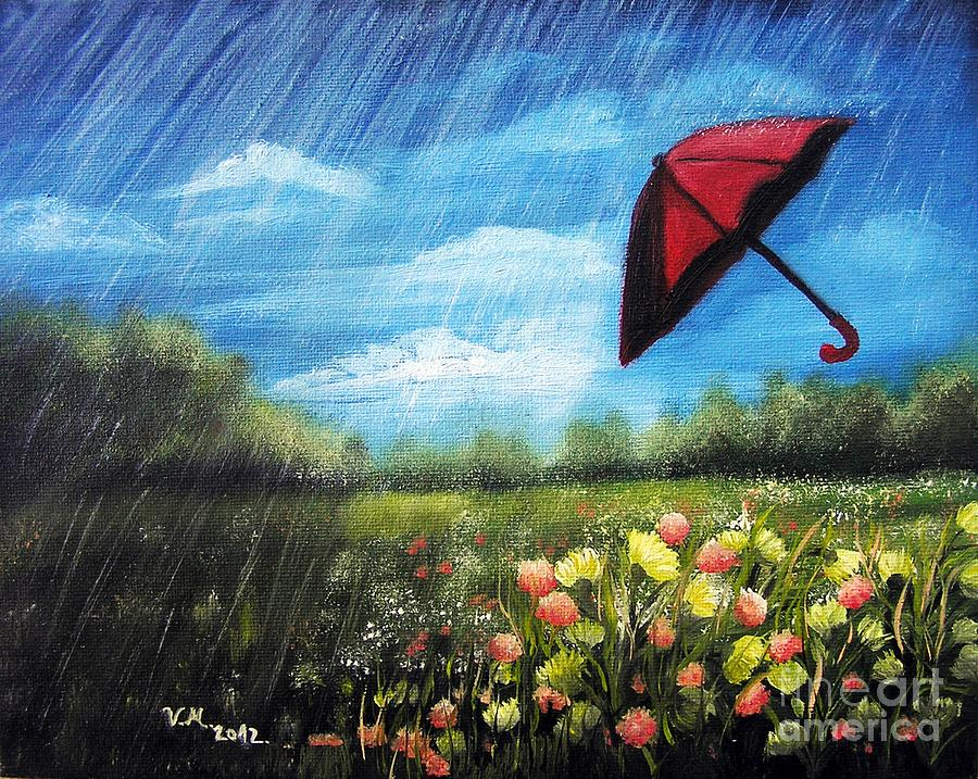 Red umbrella painting by vesna martinjak for Painting red umbrella