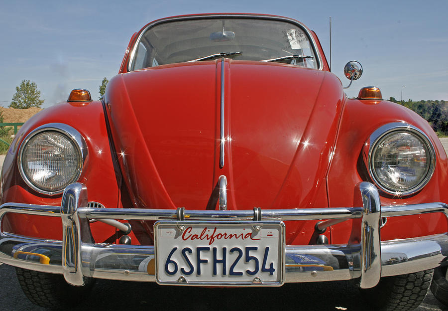 Red Volkswagen Beetle Photograph