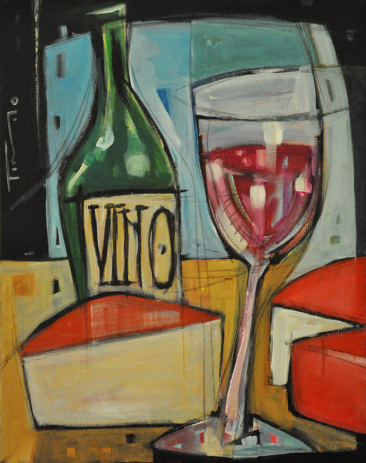Wine Painting - Red Wine And Cheese by Tim Nyberg