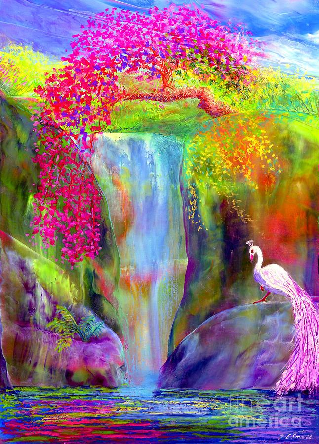 Waterfall And White Peacock, Redbud Falls Painting