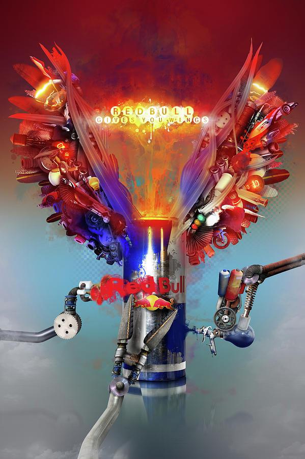 Robert  Mixed Media - Redbull Gives You Wings by Robert Palmer
