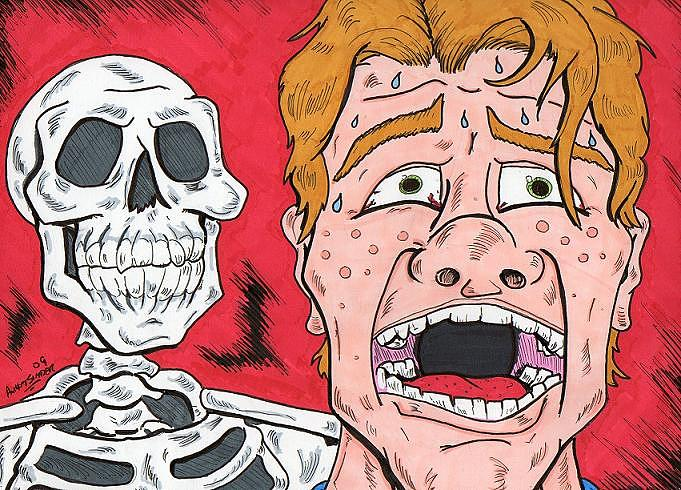 Skull Drawing - Redhead Is Dead by Anthony Snyder