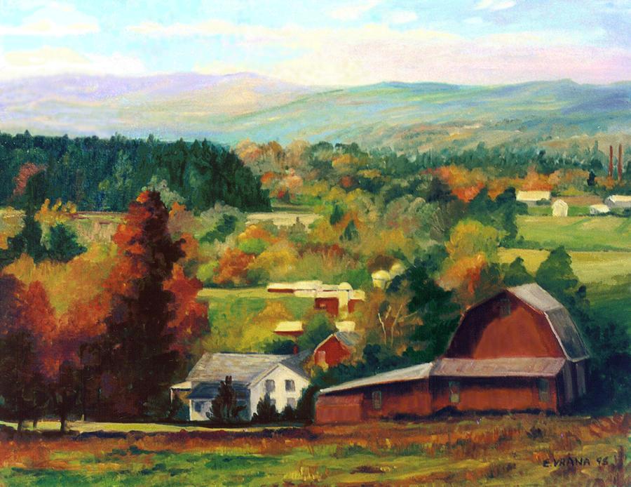 Landscape Painting - Reeds Farm Ithaca New York by Ethel Vrana