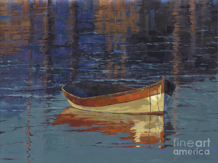 Boat Painting - Sold Reflecting At Days End by Nancy  Parsons