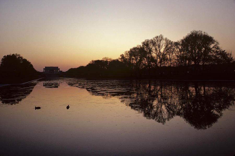 Reflecting Pool Photograph - Reflecting Pool And Lincoln Memorial by Kenneth Garrett