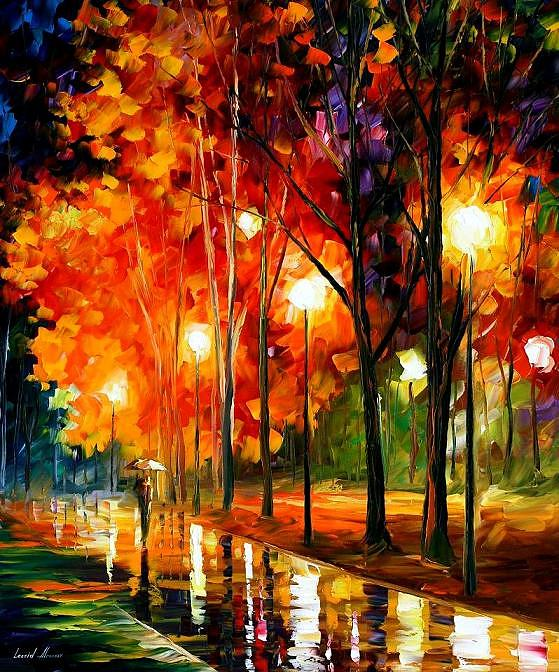 Landscape Painting - Reflection Of The Night  by Leonid Afremov