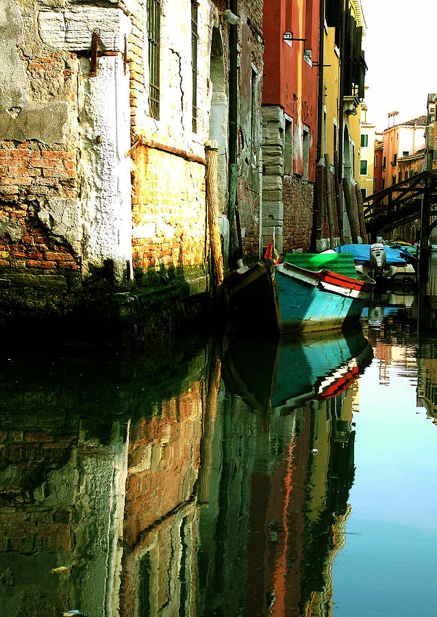 Reflection Of The Wooden Boat Photograph