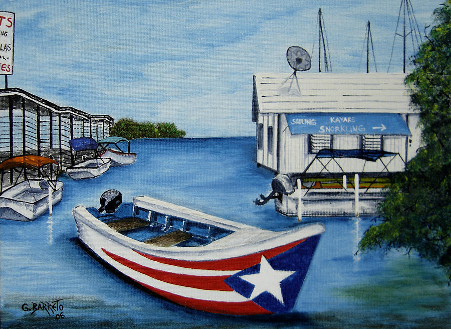 Parquera Painting - Reflections by Gloria E Barreto-Rodriguez