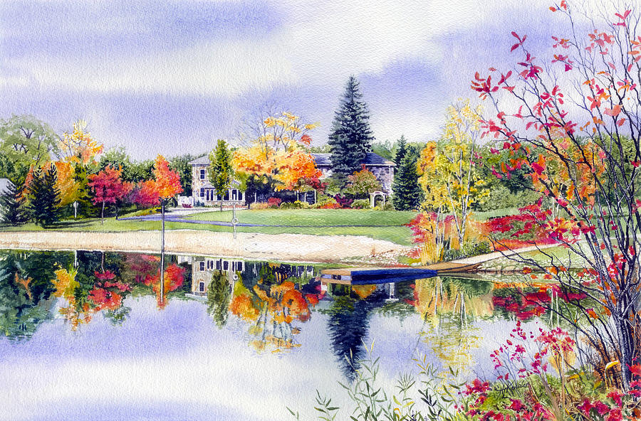 House Portrait Painting - Reflections Of Home by Hanne Lore Koehler