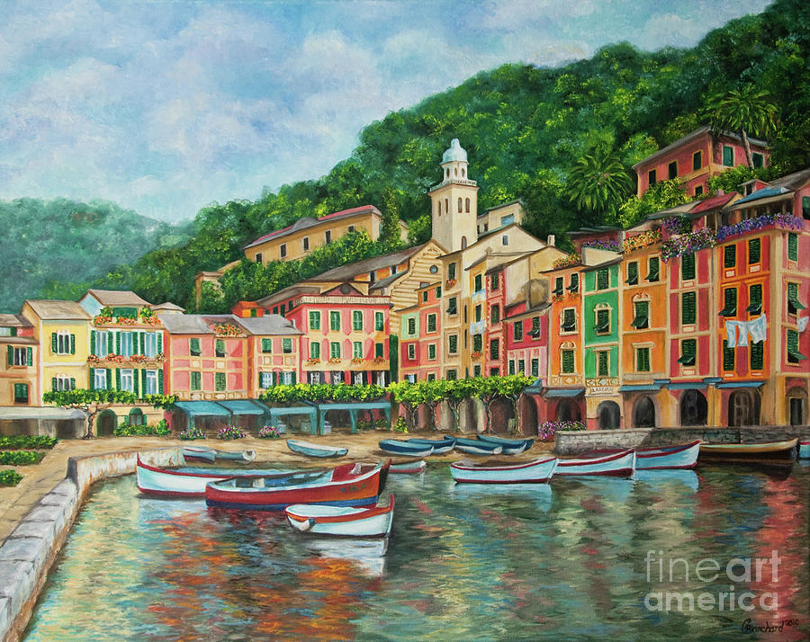Portofino Italy Art Painting - Reflections Of Portofino by Charlotte Blanchard