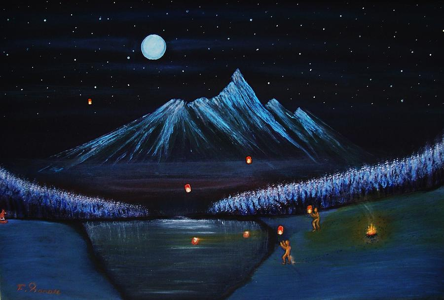 Painting Landscape Art Collectors Moon Light Lake Night Snow Kunst Sculpture - Release by Farshad Sanaee The Apple